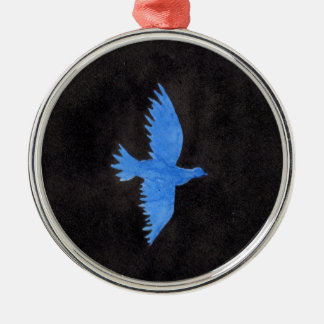 Blaue Taube Rundes Silberfarbenes Ornament