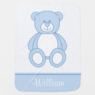 Blaue Teddy-Bärn-personalisierte Baby-Decke