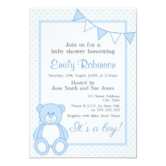 Blaue Teddybär-Duschen-Einladung - Junge Karte