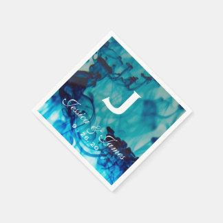 Blaue Tinten-Hochzeits-Monogramm Papierserviette