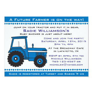Blaue Traktor-Babyparty-Einladung Karte