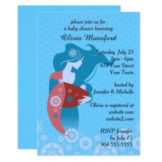 Blaue Tupfen-Babyparty 12,7 X 17,8 Cm Einladungskarte
