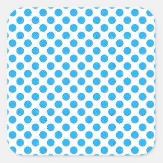 Blaue Tupfen Quadratischer Aufkleber