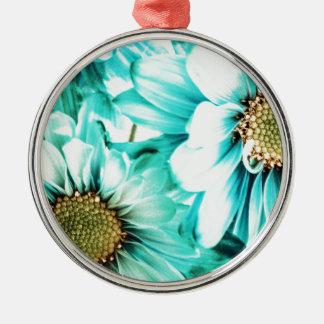 Blaue u. gelbe Gänseblümchen Rundes Silberfarbenes Ornament