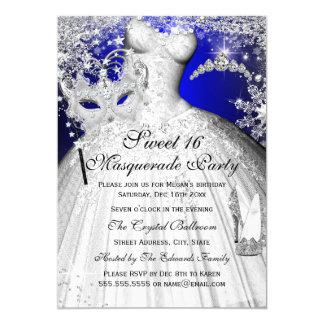 Blaue u. silberne Prinzessin Masquerade Sweet 16 12,7 X 17,8 Cm Einladungskarte