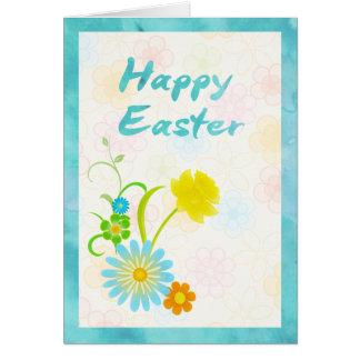 Blaue und gelbe Blumen-glückliche Ostern-Karte Karte