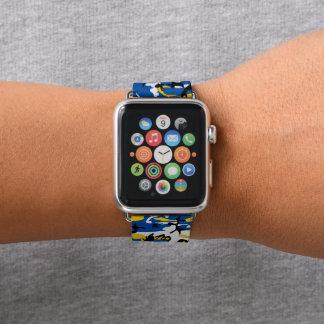 Blaue und gelbe Camouflage Apple Watch Armband
