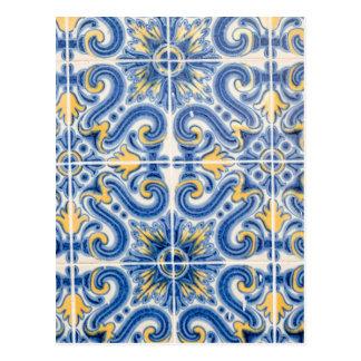 Blaue und gelbe Fliese, Portugal Postkarte