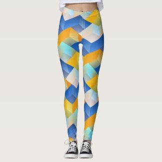 Blaue und gelbe Muster-Gamaschen Leggings