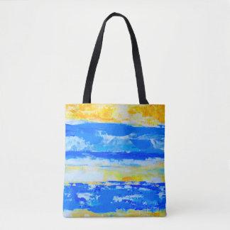 Blaue und gelbe Sommer-Strand-Tasche Tasche