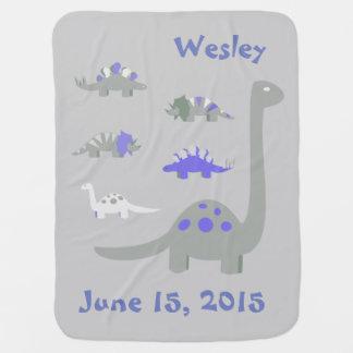 Blaue und graue Dinosaurier-Baby-Decke Kinderwagendecke