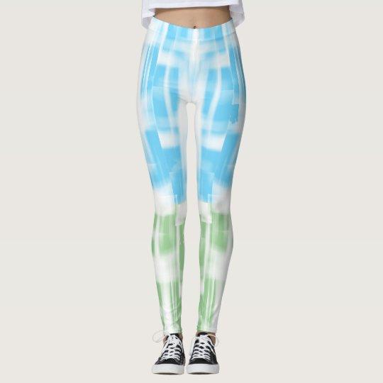 Blaue und grüne Kreide-inspirierte Gamaschen Leggings