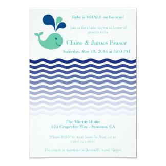 Blaue und grüne Wal-Babyparty Karte