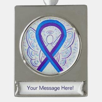 Blaue und lila Bewusstseins-Band-Engels-Verzierung Banner-Ornament Silber