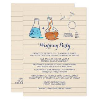 Blaue und orange Chemie-Hochzeits-Programme Karte