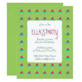 Blaue und rosa Blumen auf Grün 10,8 X 14 Cm Einladungskarte