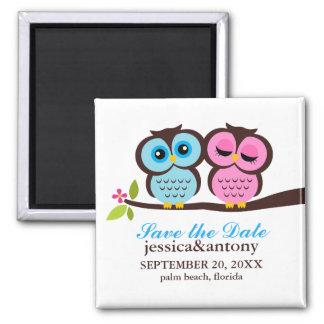 Blaue und rosa Wedding Eulen Quadratischer Magnet