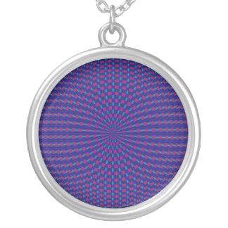 Blaue und rote geometrische Kreis-Halskette Versilberte Kette