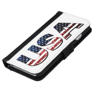 Blaue und rote Glitter-Glitzern der USA-Textflagge iPhone 6/6s Geldbeutel Hülle