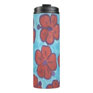 Blaue und rote Hibiskus-Trommel Thermosbecher