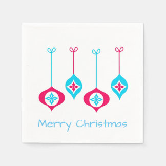 Blaue und rote Weihnachtsverzierungen Papierservietten