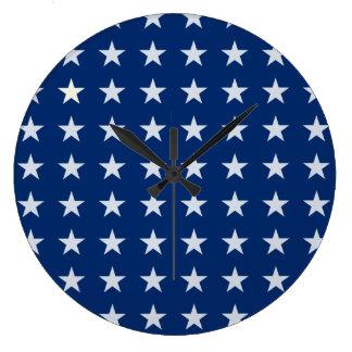 Blaue und weiße amerikanische Stern-Uhr Große Wanduhr
