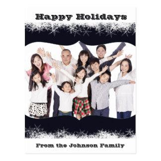 Blaue und weiße Feiertags-Familien-Foto-Postkarte Postkarte