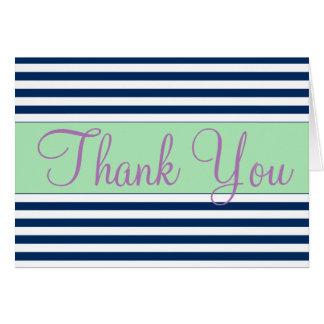 Blaue und weiße gestreifte danken Ihnen Mitteilungskarte