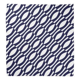 Blaue und weiße gewellte Streifen-Retro Muster Kopftücher