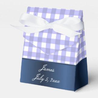 Blaue und weiße Gingham-Babydusche Geschenkkarton
