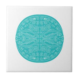 Blaue und weiße handdrawn Mandala Keramikfliese