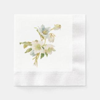 Blaue und weiße Hellebores Papierserviette