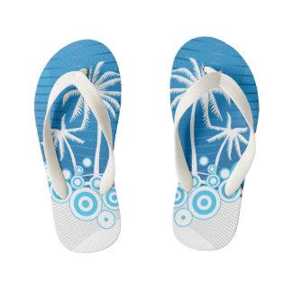 Blaue und weiße Palmen - des Kindes drehen Kinderbadesandalen