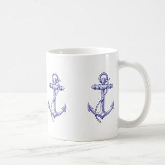 Blaue und weiße Seekaffeetasse mit Ankern Kaffeetasse