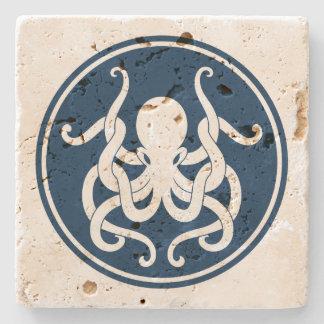 Blaue und weiße Seekraken-Illustration Steinuntersetzer