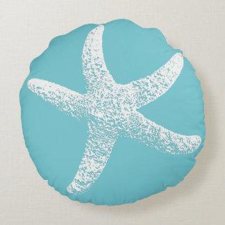 Blaue und weiße Starfish-rundes Kissen