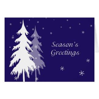 Blaue und weiße Winter-Bäume Karte