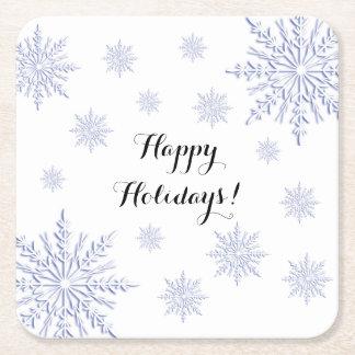 Blaue und weiße Winter-Schneeflocken frohe Rechteckiger Pappuntersetzer
