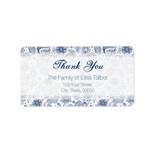 Blaue Vintage Blumenmuster-Familie danken Ihnen zu Adress Aufkleber