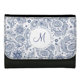 Blaue Vintage Blumenmuster-Monogramm-Geldbörse
