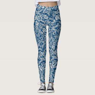 Blaue Vintage mit Blumengamaschen Leggings