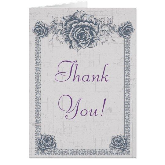 Blaue Vintage Rosen-Grenzhochzeit danken Ihnen Mitteilungskarte