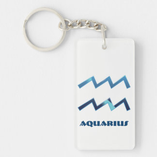 Blaue Wassermann-Tierkreis-Zeichen auf Weiß Schlüsselanhänger