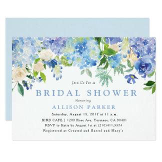 Blaue Watercolor-Blumen-Brautparty-Einladung Karte