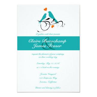 Blaue Wedding Vögel und Herzen 12,7 X 17,8 Cm Einladungskarte