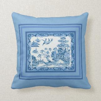 Blaue Weide mit Rahmen-Wurfs-Kissen Kissen