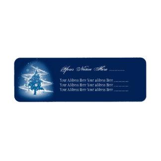 Blaue Weihnachtsbaum-extravagante elegante Rücksendeetikett