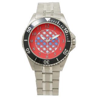 Blaue Weiß-Sterne auf Rot Armbanduhr