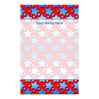 Blaue Weiß-Sterne auf Rot Briefpapier
