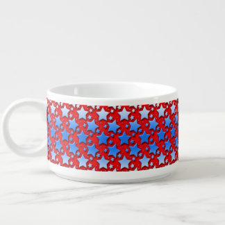 Blaue Weiß-Sterne auf Rot Kleine Suppentasse